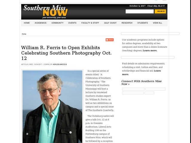 William R. Ferris to Open Exhibits Celebrating Southern Photography Oct. 12