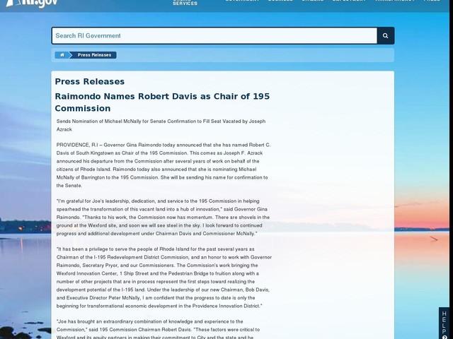 Raimondo Names Robert Davis as Chair of 195 Commission