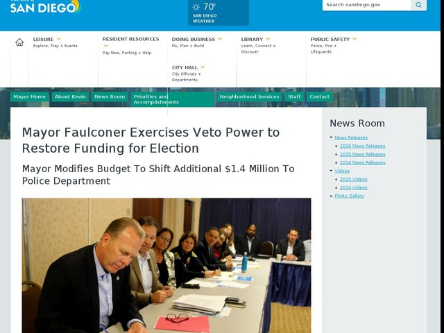 Mayor Faulconer Exercises Veto Power to Restore Funding for Election