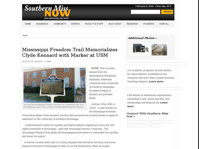 Mississippi Freedom Trail Memorializes Clyde Kennard with Marker at USM