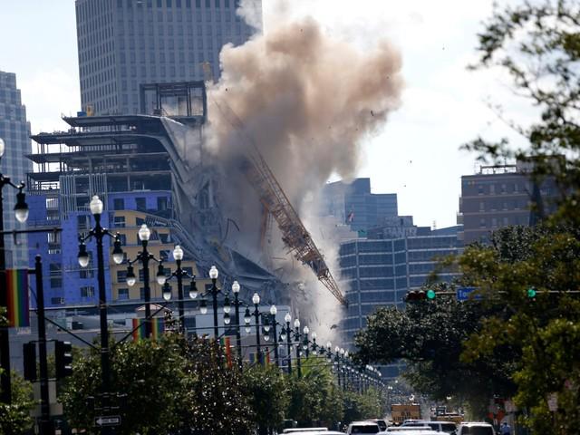 Hard Rock Hotel: Demolition blasts one crane near French Quarter, other dangles