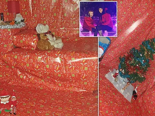Mother spends five hours wrapping her eight-year-old son's bedroom in Christmas wrapping paper