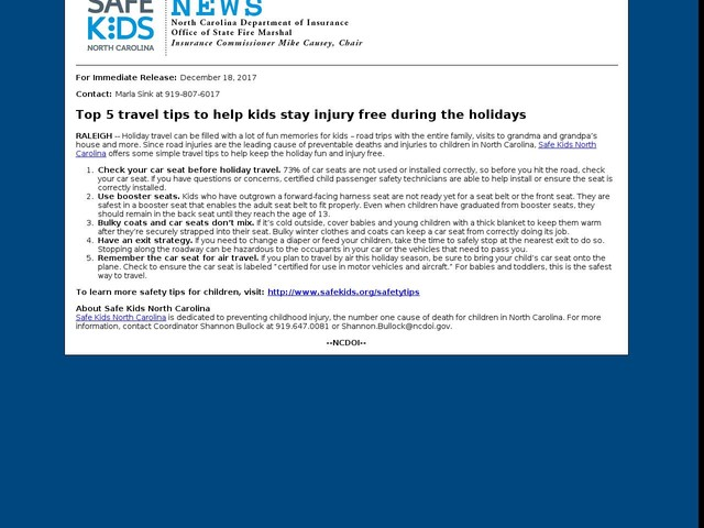 December 18, 2017 -- Top 5 travel tips to help kids stay injury free during the holidays