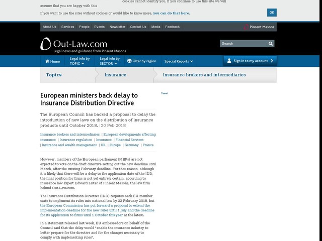 European ministers back delay to Insurance Distribution Directive