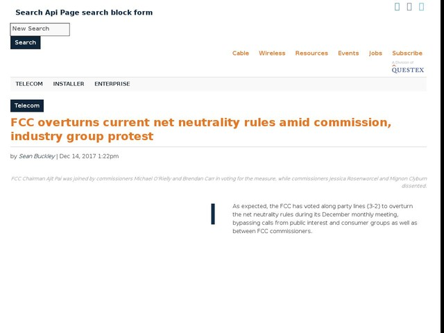 FCC overturns current net neutrality rules amid commission, industry group protest