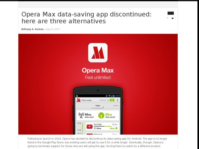 Opera Max data-saving app discontinued: here are three alternatives