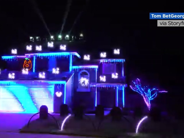 California man's epic Halloween light show features rapping, neon pumpkins and strobe lights