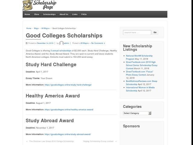 Good Colleges Scholarships