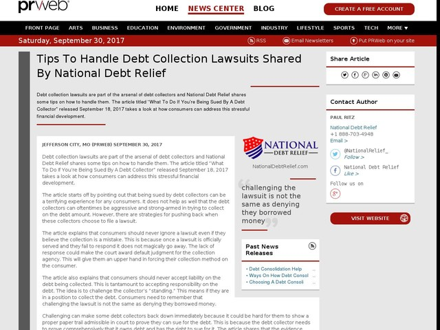 Tips To Handle Debt Collection Lawsuits Shared By National Debt Relief