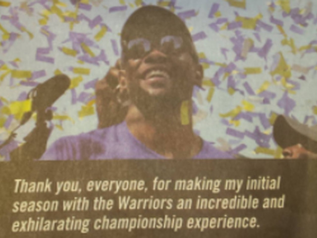 Kevin Durant took out a full-page ad to thank the Warriors and fans