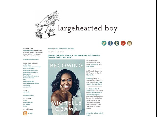 Shorties (Michelle Obama in Her New Book, Jeff Tweedy's Favorite Books, and more)