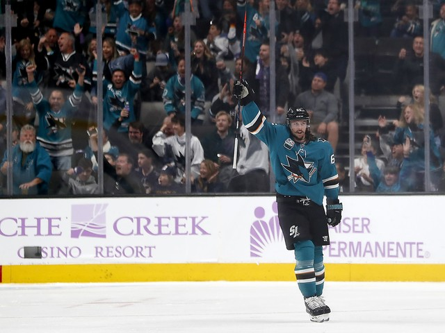 In 21st game, Erik Karlsson finally scores his first goal for Sharks