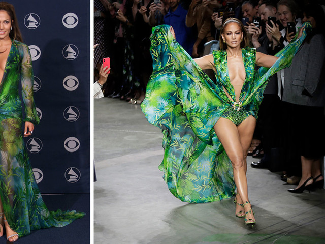 Jennifer Lopez closes Versace show in reimagined version of iconic green Grammy dress