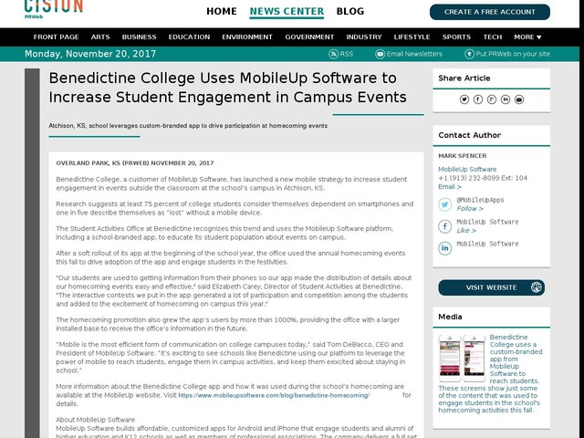 Benedictine College Uses MobileUp Software to Increase Student...