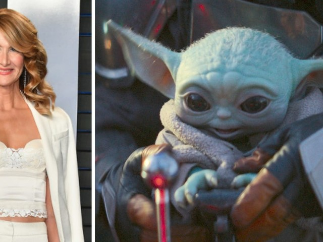 Laura Dern leaned into her odd relationship with Baby Yoda, suggesting to Stephen Colbert that the two are dating