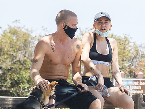 Cody Simpson & Miley Cyrus Work Up A Sweat Together While Hiking With Their Dog In LA