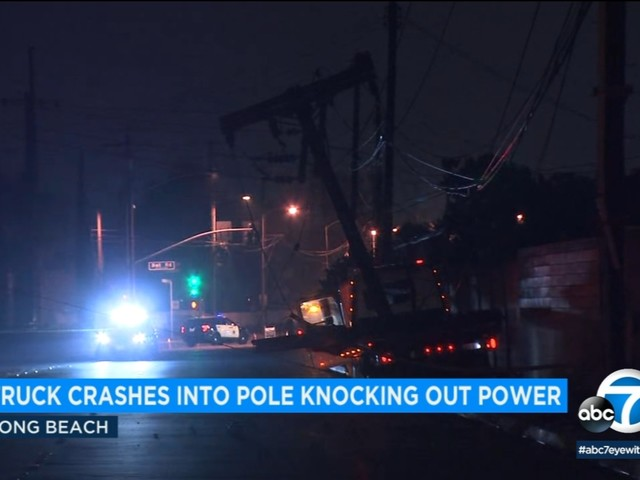 Tow truck crash causes power outage in Long Beach; driver arrested