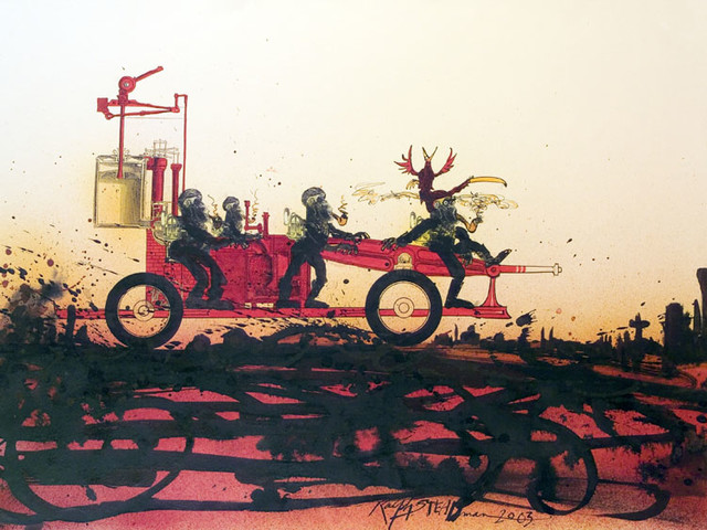 Ralph Steadman's Hellish Illustrations for Ray Bradbury's Classic Dystopian Novel, Fahrenheit 451