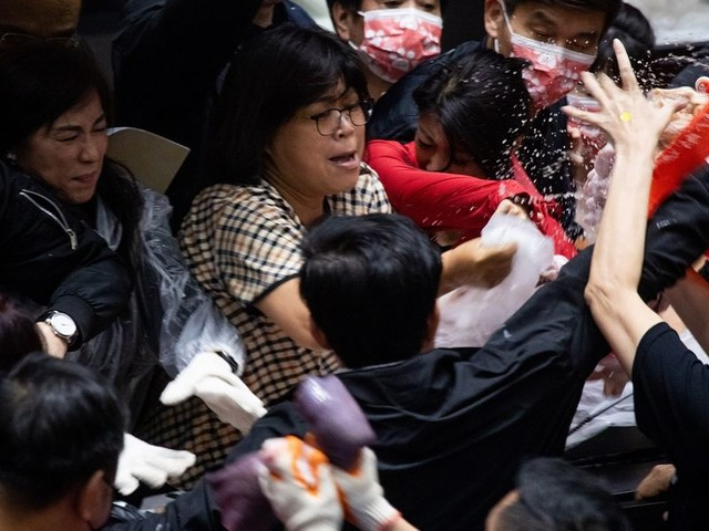 Taiwanese lawmakers hurl pig organs in Parliament during brawl over US meat imports