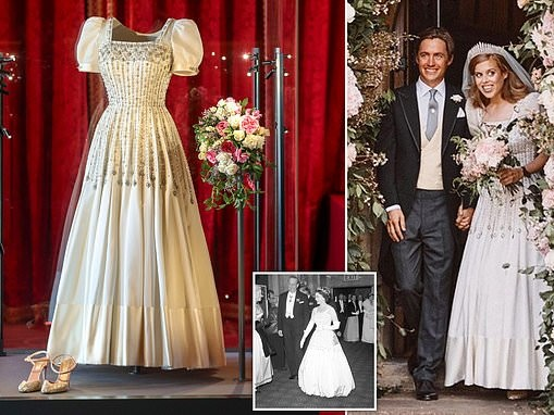 Princess Beatrice's wedding dress loaned to her by the Queen on display at Windsor Castle