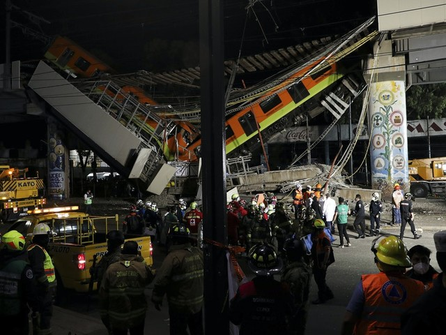 Mexico City metro overpass collapses onto road; 23 dead