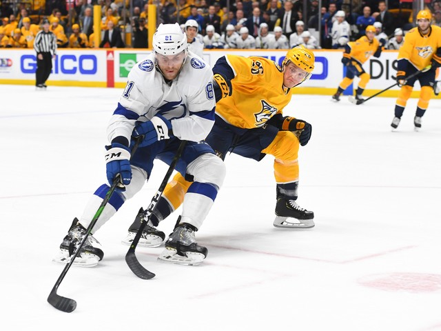 Lightning's Erik Cernak, recently back from suspension, delivers another questionable hit