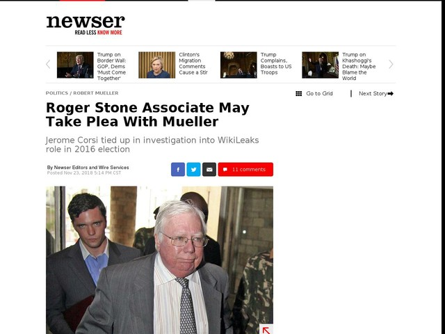 Roger Stone Associate May Take Plea With Mueller