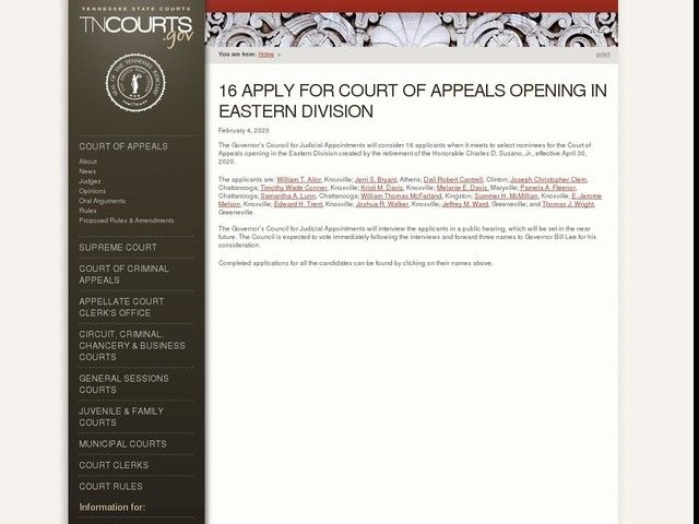 16 Apply for Court of Appeals Opening in Eastern Division