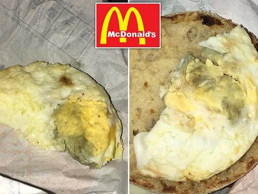 'Disgusted' McDonald's customer finds green eggs inside her two sausage and egg McMuffins