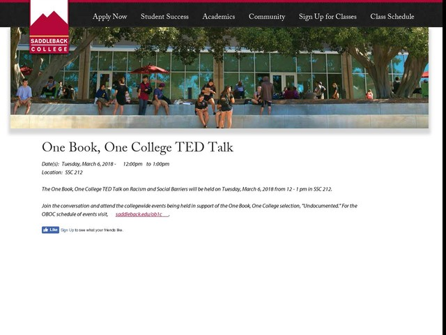 One Book, One College TED Talk