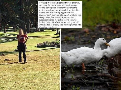 Aggressive 'park Karen' accused of verbally abusing a young girl in Centennial Park