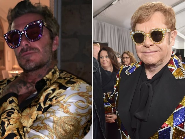 David Beckham Has Vacationed With Elton John For So Long, He's Starting to Turn Into Him