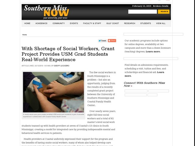 With Shortage of Social Workers, Grant Project Provides USM Grad Students Real-World Experience