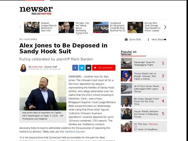 Alex Jones to Be Deposed in Sandy Hook Suit