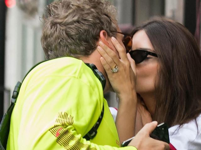 Emily Ratajkowski & Husband Sebastian Bear-McClard Share a Kiss in NYC