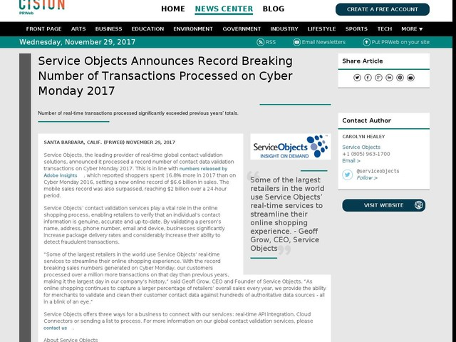 Service Objects Announces Record Breaking Number of Transactions...