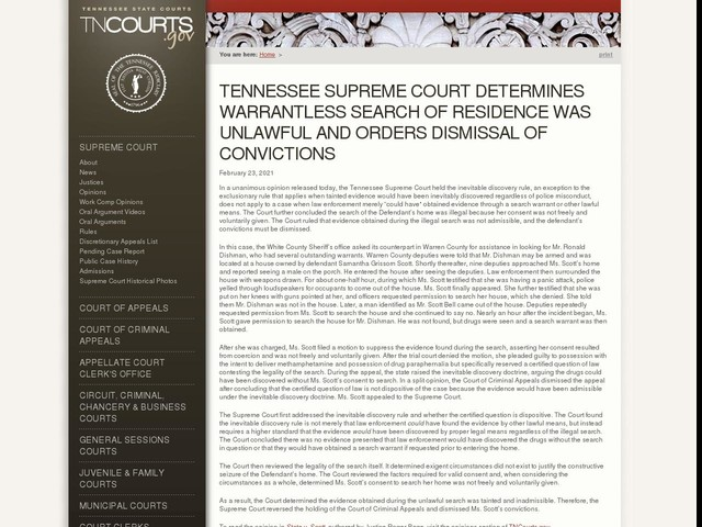 Tennessee Supreme Court Determines Warrantless Search of Residence was Unlawful and Orders Dismissal of Convictions