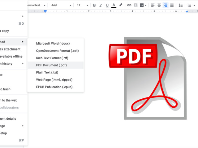 How to create a PDF from a document in Google Docs
