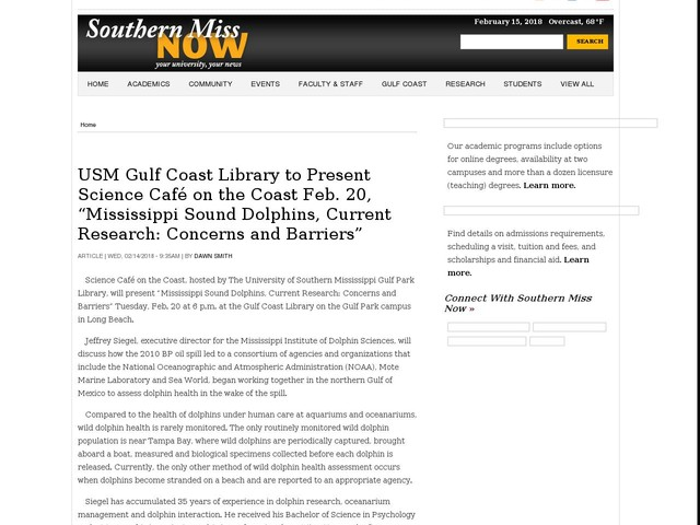 "USM Gulf Coast Library to Present Science Café on the Coast Feb. 20, ""Mississippi Sound Dolphins, Current Research: Concerns and Barriers"""