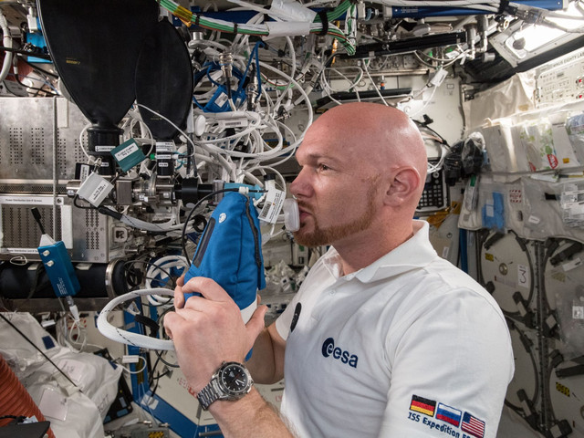 Astronauts are breathing into weird little machines for science