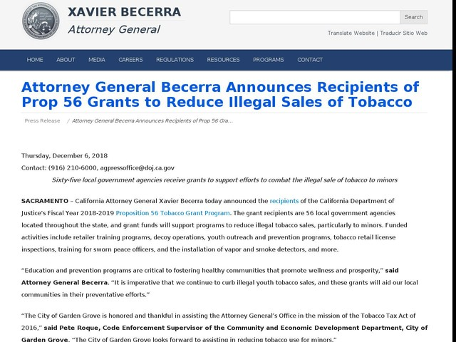 Attorney General Becerra Announces Recipients of Prop 56 Grants to Reduce Illegal Sales of Tobacco