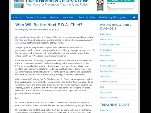 Who Will Be the Next F.D.A. Chief?