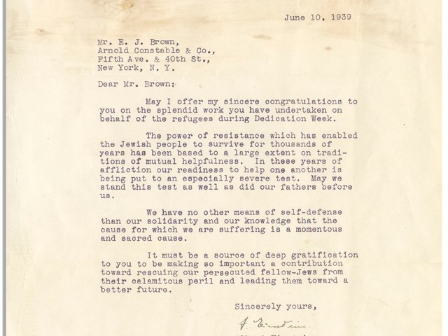 Einstein letter defending his Jewish heritage up for auction