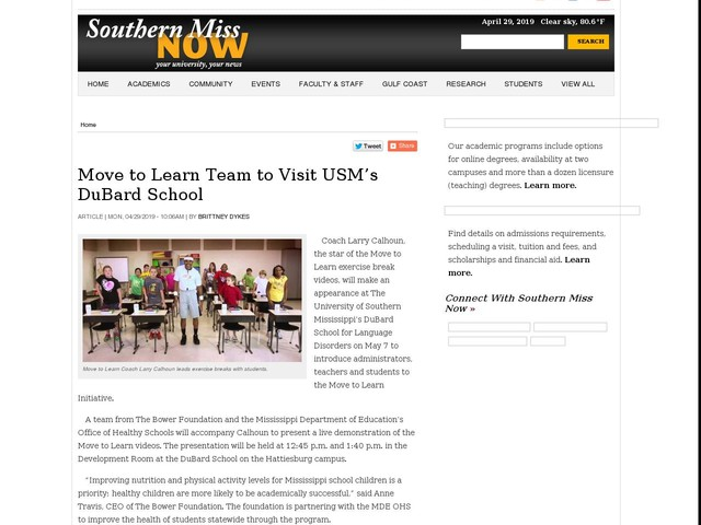 Move to Learn Team to Visit USM's DuBard School