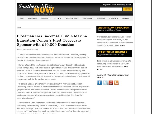 Blossman Gas Becomes USM's Marine Education Center's First Corporate Sponsor with $10,000 Donation