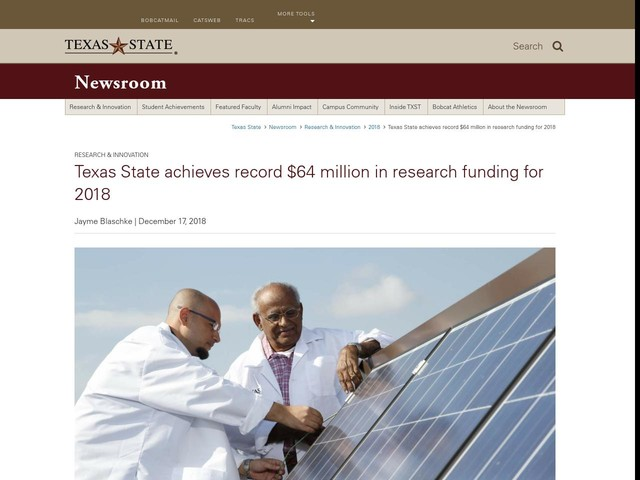 Texas State achieves record $64 million in research funding for 2018