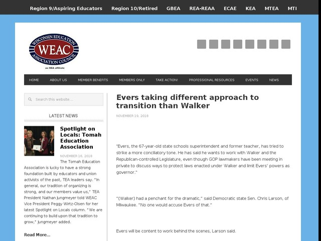 Evers taking different approach to transition than Walker