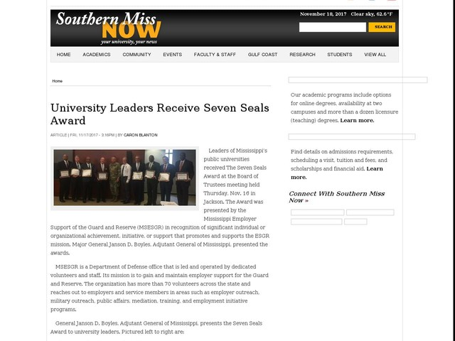 University Leaders Receive Seven Seals Award