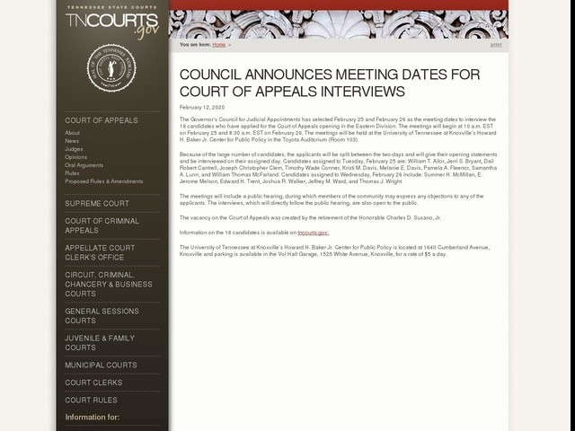 Council Announces Meeting Dates For Court of Appeals Interviews