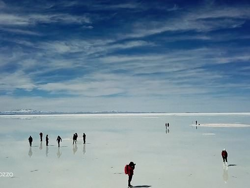 Drone captures a mesmerising flooded 10,000sq-km salt desert in Bolivia as it mirrors the sky